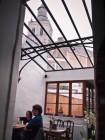 Glazen dak. Hoogrendementsglas, smeedwerk constructie, thermisch onderbroken.